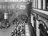 """Crowds at Manchester Victoria Station, 27 August 1927. """