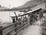 Lauching a canoe on Buttemere on a girls' Outward Bound Course, 1954