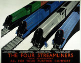 The Four Streamliners. Poster, London & North Eastern Railway, c.1937.