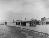 Railway swing bridge at Sutton, about 1910.