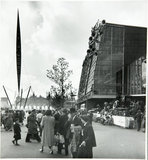 Skylon exterior, architectural structure on the South Bank site, Festival of Britain, 1951