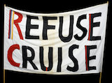 Refuse Cruise' Anti-nuclear protest banner. C.1984.