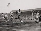 The finish of the men's 800 metres final at the Olympics, London, 1948