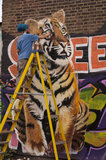 Graffiti artist painting tiger with spray cans in East London