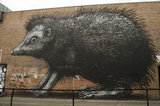 Graffiti in East London of Giant Hedge Pig by Roa