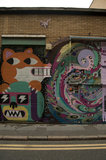 Graffiti in East London of fox and robot by Malarky