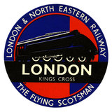 Flying Scotsman, Circular Luggage Label, London