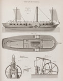 Plate VIII: Elevation and Plan of a Steam Boat; Maudslay's Steam Engine; Murray's Steam Engine.
