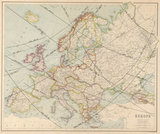 Map of Europe by George Philip & Son Ltd. with lines in ink showing the tracks of all total solar eclipses crossing Europe during the 20th century.