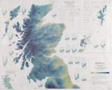 Rainfall map of Scotland and Northern England, annual average from 1916-1950
