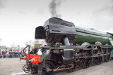 Flying Scotsman locomotive after its inaugural run at North Yard, National Railway Museum, February 25th 2016.