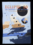 Commemorative tea towel celebrating the solar eclipse visible from Cornwall on August 11th, 1999