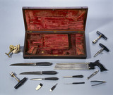 Surgeon's tools and case, late 18th or early 19th century.