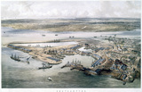 aerial view of Southampton Docks, 1840-1880.