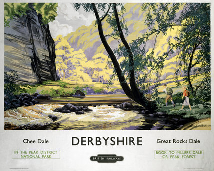 'Derbyshire - Chee Dale and Greatt Rocks Dale' BR (LMR) poster, c 1950s.