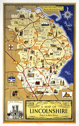 'A Map of Lincolnshire', BR poster, 1948-1965.