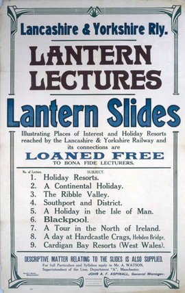 'Lantern Lectures, Lantern Slides', LYR notice, early 20th century.