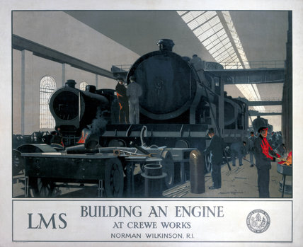 'Building an Engine at Crewe Works', LMS poster, 1923-1947.