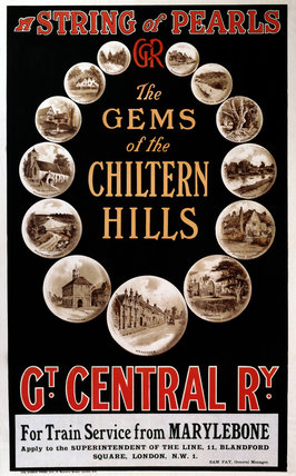 'The Gems of the Chiltern Hills', GCR poster, c 1930s.