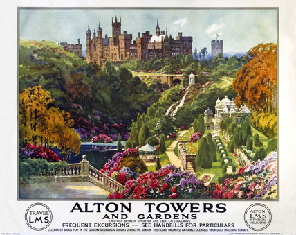 'Alton Towers and Gardens', LMS poster, c 1930s.