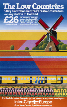 'Inter-City Europe, The Low Countries', BR poster, 1982.