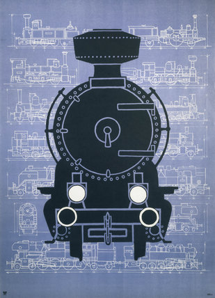 Steam locomotive, poster.
