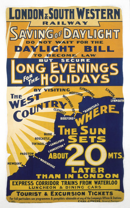 'Saving of Daylight', LSWR poster, 1908.