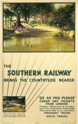 'The Southern Railway Brings the Countryside Nearer', SR poster, 1947.