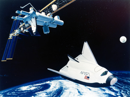 HL-20 space taxi and Space Station Freedom, 1991.