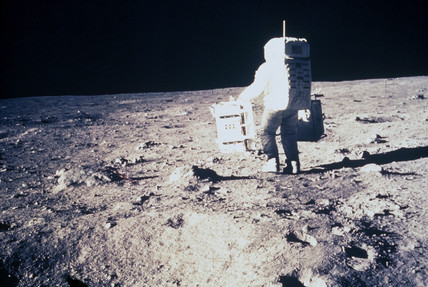 Apollo 11 astronaut Edwin 'Buzz' Aldrin, on the Moon, 1969.