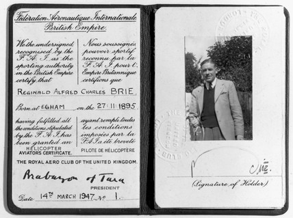 Reginald Alfred Charles Brie's helicopter pilot's licence, 1947.