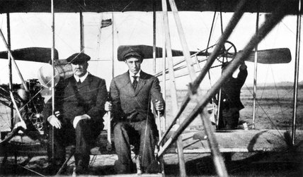 Wilbur Wright with Frank Hedges Butler, Anvours France, 1908.