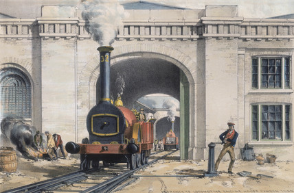 'Entrance to the Locomotive Engine House, Camden Town', London, 1839.