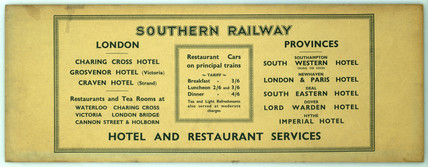 Southern Railway Hotel and Restaurant Services.