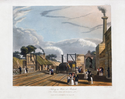 'Taking in Water at Parkside, on the Line from Liverpool to Manchester', 1831.