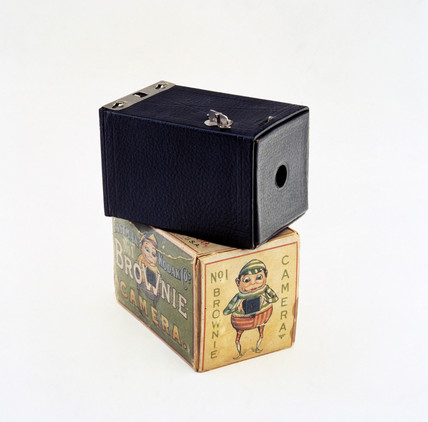 Kodak Brownie camera with original box, c 1902.