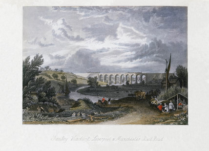 'Sankey Viaduct, Liverpool and Manchester Railroad', Cheshire, c 1840