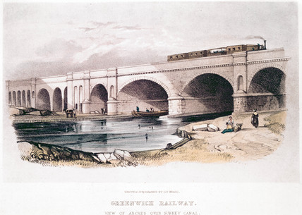 'Greenwich Railway, View of Arches over Surrey Canal, c 1850.
