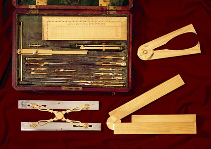 Set of mathematical instruments by George Adams, mid 18th century.