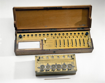 Pascal's calculating machine, 1642, and Colmar's Arithmometer, c 1850.
