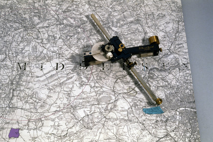 Coradi planimeter and map, 1886.