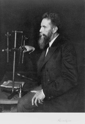Wilhelm Conrad Roentgen, German physicist, at his workbench, 1906.