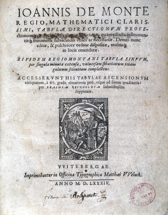 Title page from 'Tabulae' by Regiomontanus, 1584.