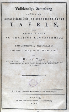 Title page of Vega's 'Thesaurus Logarithmorum Completus', 1794.