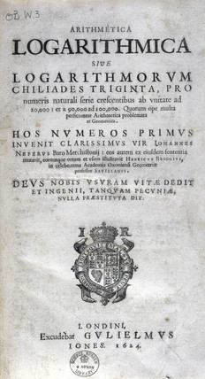 Title page, book of logarithmic tables by Briggs, 1624.
