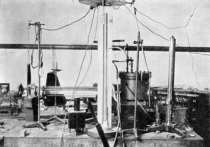 Apparatus used by Millikan to measure the charge on the electron, c 1915.