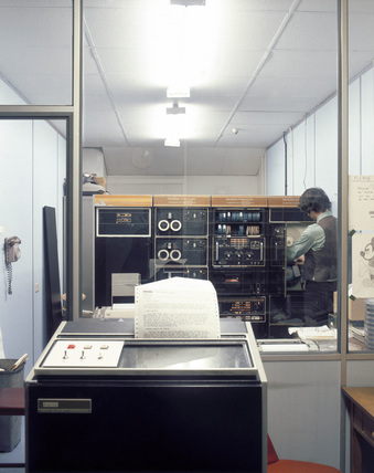 The computer centre at a BUPA medical centre, 1975.
