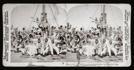 Marines from HMS Niobe cheering news from the front, Cape Town', 1900.