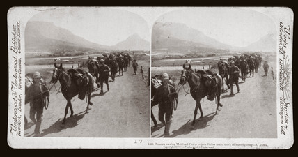 '14th Husars leaving Maitland Camp to join Buller - South Africa', 1900.