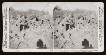 'First Royal Irishmen during advance on Pretoria, South Africa', 1900.